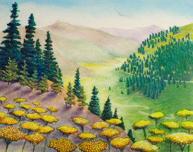 Pastel Landscape Artwork Mountains and Pine Trees Michele Fritz