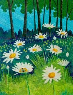 Pastel Landscape Artwork Daisies at the Lake of the Ozarks Green Grassy field Michele Fritz