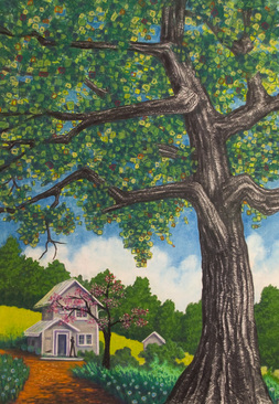 Pastel Landscape Artwork House in Countryside Rensing Center Art Residency Oak Tree Mountains of South Carolina Michele Fritz