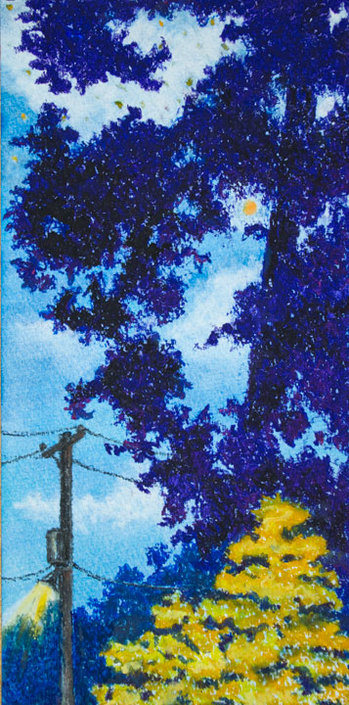 Pastel Landscape Artwork Power Lines at Night Trees Moonlight blue and yellow Michele Fritz
