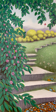 Pastel Landscape Artwork Stairway to Grassy Field with Roses Flowers Michele Fritz