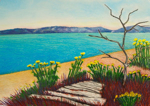 Pastel Landscape Artwork Seaside Beach Flowers Vashon Island Seattle Washington Michele Fritz