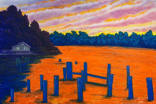 Pastel Landscape Artwork Vashon Island Washington Ocean Seaside Sunset Orange Michele Fritz
