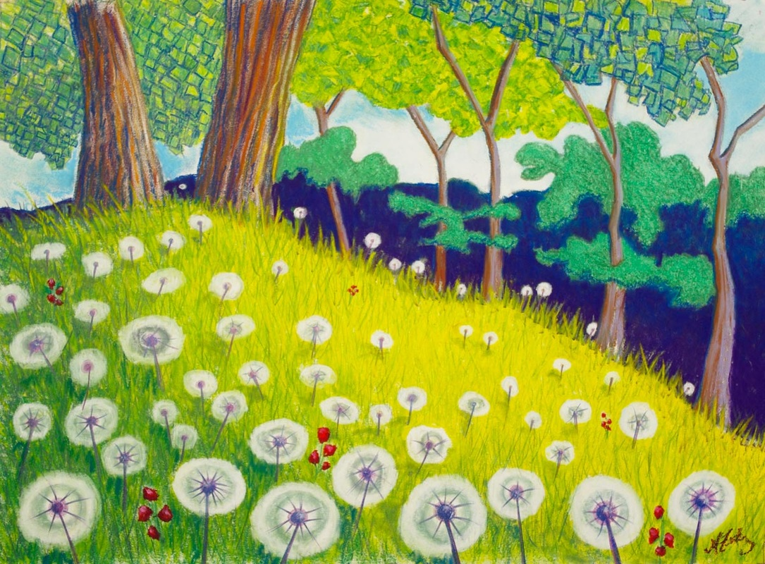 Pastel Landscape Artwork Trees and Dandelions Michele Fritz